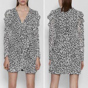ZARA Animal Print Ruffle Wrap Dress